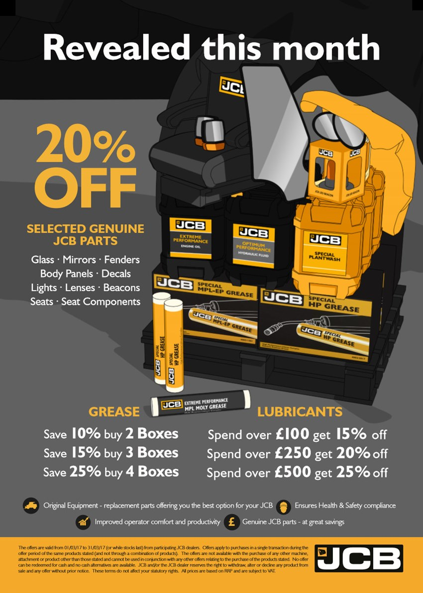 20% off Selected Genuine JCB Parts