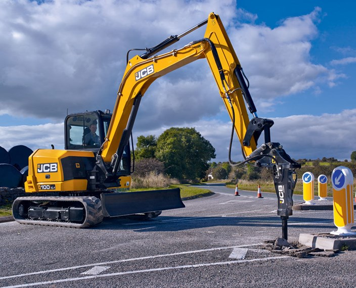JCB 100C-1 Mini Excavator doing roadwork
